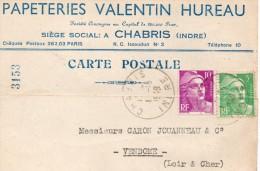 (36)  INDRE  ** CHABRIS  ***  PAPETERIES VALENTIN HUREAU  ** - Autres Communes