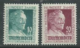 Allemagne Wurttemberg N° 44 / 45 X Centenaire Du Socialisme Chrétien, Werner,  Les 2 Valeurs Trace De Charnière Sinon TB - French Zone