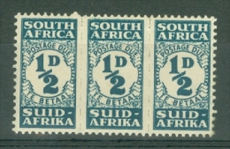 South Africa: 1943/44   Postage Due    SG D30    ½d   MH Triplet - Südafrika (...-1961)
