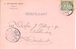 1900 Grootrond VENLO Op Firmabk Naar Dordrecht  ( G. Mosmans Senior Uitgever) - Poststempels/ Marcofilie