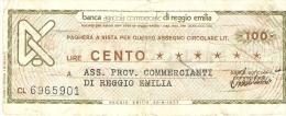 Billet - ITALIE - 100 Lire - 30.9.1977 - Banca Di Reggio Emilia - [10] Assegni E Miniassegni