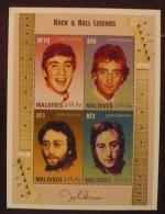 MALDIVES John LENNON, Beatles, Musique.  Bloc Feuillet 4 Valeurs  ** MNH. - Zangers