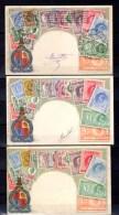 3 Cartes Postales  Philatéliques > King Edward - Timbres (représentations)