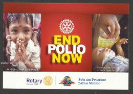 Portugal 2015 Carte Entier Postal Finir Avec La Polio Rotary Médecine Vaccination Postal Stationery End Polio Medicine - Rotary, Lions Club
