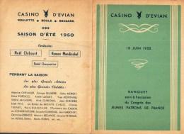 Menu     CASINO D'EVIAN   1950     Banquet Du Congrès Des Jeunes Patrons De France - Menu