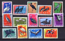 1963   Oiseaux Protégés, 481 / 494**, Cote 11 €, Prtected Birds Ucelli Vogels - Republic Of Congo (1960-64)