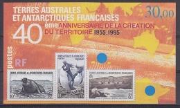 TAAF 1995 40ème Anniversaire De La Creation Du Territoire M/s ** Mnh (25223) - Blokken & Velletjes