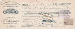 Lettre Change 31/7/1897 CHAZALON Vin Vinaigre Viticulteur NIMES Gard Pour Bourbonne Haute Marne - Bills Of Exchange