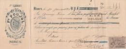 Lettre Change 30/1/1893 Fd POUJOL Vin Viticulteur NIMES Gard Pour Mas Cambon Près St Gilles - Déchirure Réparée - Lettres De Change