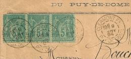 Bande De 3 SAGE 5C, CLERMONT Fd Puy De Dome Sur Enveloppe Du Syndicat Départemental Agricole. - 1876-1898 Sage (Tipo II)