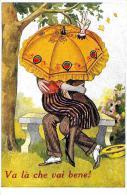 [DC4298] CARTOLINA - HUMOR - VA LA' CHE VAI BENE - COPPIA - OMBRELLO - Non Viaggiata - Old Postcard - Humor