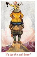 [DC4299] CARTOLINA - HUMOR - VA LA' CHE VAI BENE - ALPINISTI - Non Viaggiata - Old Postcard - Humor