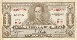 Billet - BOLIVIE - 1 Boliviano - 1928 - Série M12 - Bolivia