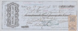 Lettre Change 23/4/1878 BRUNEL JULIAN Vins Spiritueux  NIMES Gard Pour Anduze - Lettres De Change