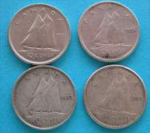 Canada Lot 10 Cents. 1951/52/54/55  Silver  Argent - Canada
