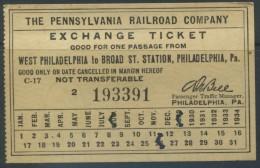 TICKET THE PENNSYLVANIA RAILROAD COMPANY // USA // 1929 - Railway