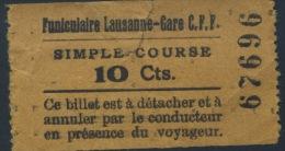 BILLETE DEL FUNICULAR DE LAUSANNE - GARE C.F.F. // SUIZA - Europe