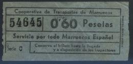 BILLETE  DE COOPERATIVA DE TRANSPORTES DE MARRUECOS - Bus