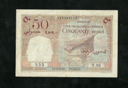 Djibouti,French Somaliland, 50 Francs 1952 P-25 VF+ SCARCE - Djibouti