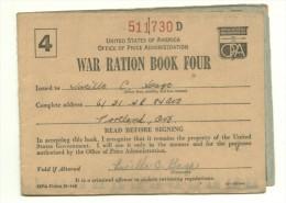 ** USA WAR RATION BOOK FOUR - TESSERE ANNONARIE DI GUERRA AMERICANE - Dokumente