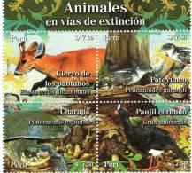 Lote P2009-4, Peru, 2009, Animales En Vias De Extincion, Aves, Tortuga, Ciervo, 4 Sellos, Deer, Turtles, Birds, 4v - Peru