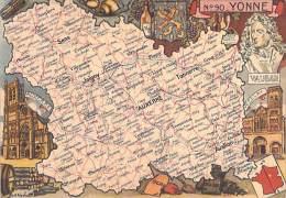 DEPARTEMENT DE L´YONNE (89) : CARTE GEOGRAPHIQUE CPSM Années 50 Colorisée Grand Format - - France