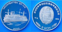 KOREA 5 W 2000 ARGERTO PROOF SILVER MUNTBATTEN SR-N4 PESO 15g TITOLO 0,999 CONSERVAZIONE FONDO SPECCHIO UNC. - Corea Del Nord