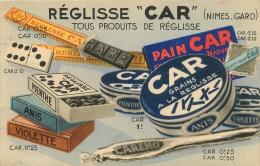 CARTE PUBLICITAIRE REGLISSE CAR  NIMES GARD - Pubblicitari