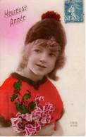 CPA Bonne Année DE 1926 - Fillette Au Bonnet Et Pull Orange - Bouquet De Houx - Rex 2042 - Nouvel An