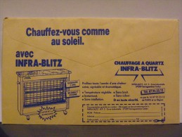 Enveloppe CCP Recto Livret Poste Verso Chauffage Quartz Infra-blitz - Reclame