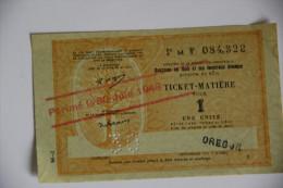 Rationnement - Ticket Matiere Ocrpi Surcharge Oregon Rare - Historische Dokumente