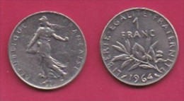 FRANCE, 1964, 1 Circulated Coin Of 1 Franc, Nickel  , KM925.1, C3002 - France