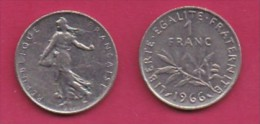 FRANCE, 1966, 1 Circulated Coin Of 1 Franc, Nickel  , KM925.1, C3004 - France