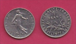 FRANCE, 1977, 1 Circulated Coin Of 1 Franc, Nickel  , KM925.1, C3011 - France