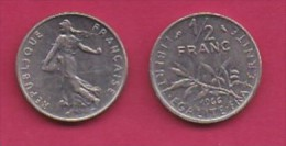 FRANCE, 1966, 1 Circulated Coin Of 1/2 Franc, Nickel , KM 931.1, C3018 - France