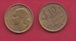 FRANCE, 1952, 1 Circulated Coin Of 10 Francs, Alu-Bronze , KM 915.1, C3028 - France