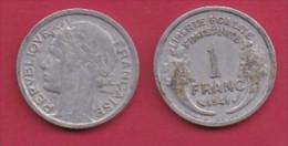 FRANCE, 1941, 1 Circulated Coin Of 1 Franc, Aluminium , KM 885a.1, C3032 - France