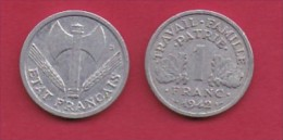 FRANCE, 1942, 1 Circulated Coin Of 1 Franc, Aluminium , KM 902.1, C3033 - France