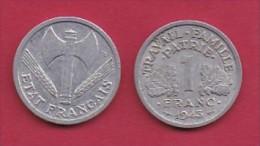 FRANCE, 1943, 1 Circulated Coin Of 1 Franc, Aluminium , KM 902.1, C3034 - France