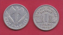 FRANCE, 1944, 1 Circulated Coin Of 1 Franc, Aluminium , KM 902.1, C3035 - France
