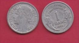 FRANCE, 1945, 1 Circulated Coin Of 1 Franc, Aluminium , KM 885a.1, C3036 - France