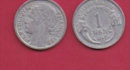 FRANCE, 1947, 1 Circulated Coin Of 1 Franc, Aluminium , KM 885a.1, C3037 - France