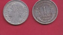 FRANCE, 1959, 1 Circulated Coin Of 1 Franc, Aluminium , KM 885a.1, C3042 - France