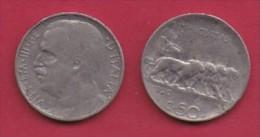 ITALY, 1920, 1 Circulated Coin Of  50 Centesimi, Reeded Edge, Nickel, KM 61.2, C3043 - 1861-1946 : Kingdom