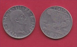 ITALY, 1939, 1 Circulated Coin Of  50 Centesimi, Reeded Edge, St/St, Non Magnetic, XVII, KM 76a, C3045 - 1861-1946 : Kingdom