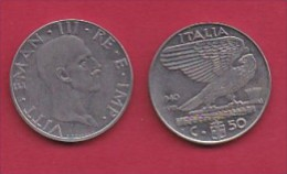 ITALY, 1940, 1 Circulated Coin Of  50 Centesimi, Reeded Edge, St/St, Non Magnetic, XVIII, KM 76a, C3046 - 1861-1946 : Kingdom