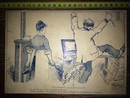 DESSIN CARICATURE 1910/1920 UNE SOLUTION D ALBERT GUILLAUME PEINTRE FEMME AU POELE A CHARBON - Vieux Papiers