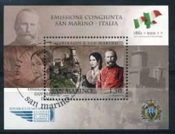 """2011 San Marino, Foglietto Congiunta  """"Garibaldi A San Marino"""" Con Annullo Ufficiale - Blocks & Sheetlets"""