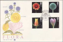 GB 1987 FLOWERS FDC SG 1347-50 MI 1097-100 SC 1168-71 IV 1256-1259 - Covers & Documents