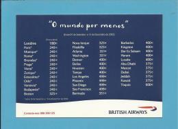 """BRITISH AIRWAYS - ADVERTISING - """" O Mundo Por Menos """" - Portugal - 2 Scans - Pubblicitari"""